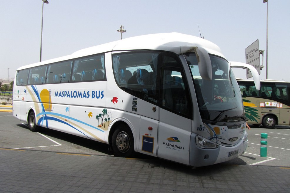 Maspamolas bus all'aeroporto di Las Palmas  - Gran Canaria. <span>Foto Alessandro Bove</span>